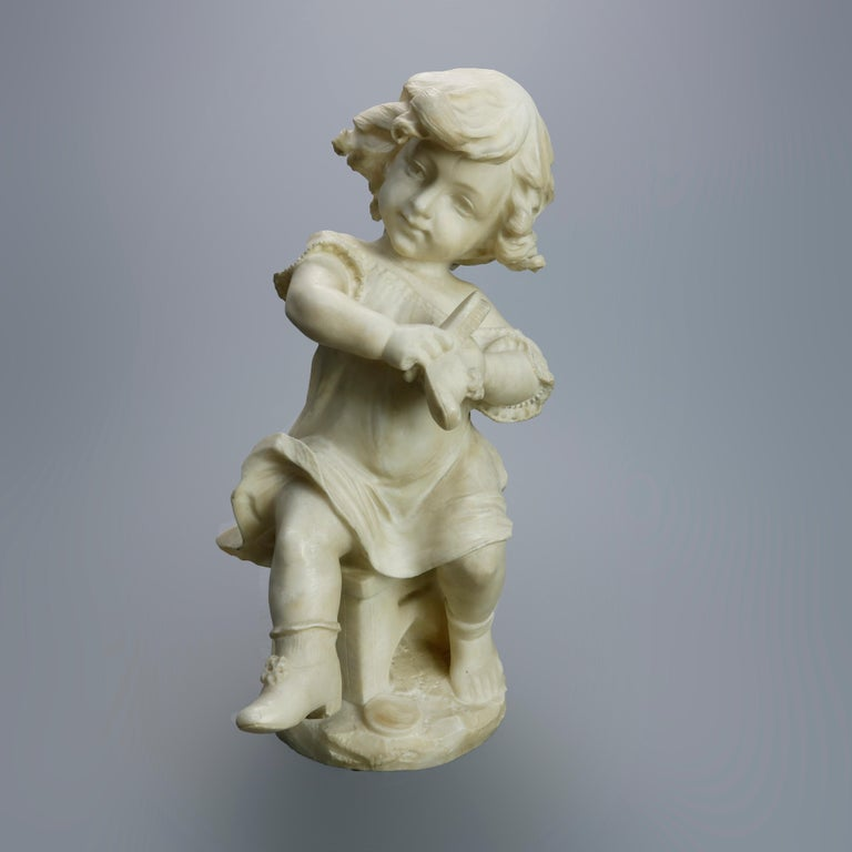 Antique Carved Alabaster Sculpture of Young Girl by Adolpho Cipriani, c1890 For Sale 10