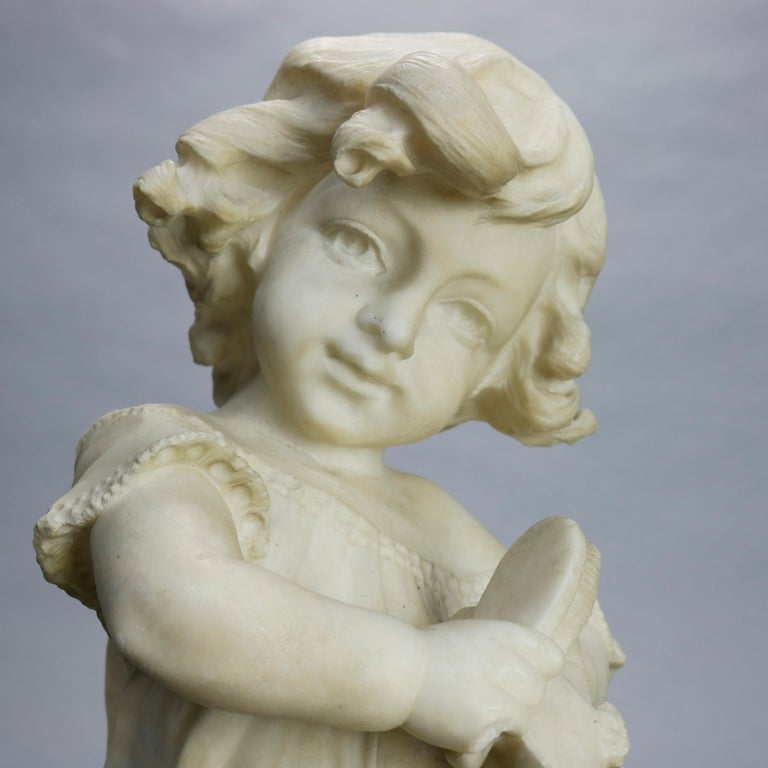 Italian Antique Carved Alabaster Sculpture of Young Girl by Adolpho Cipriani, c1890 For Sale