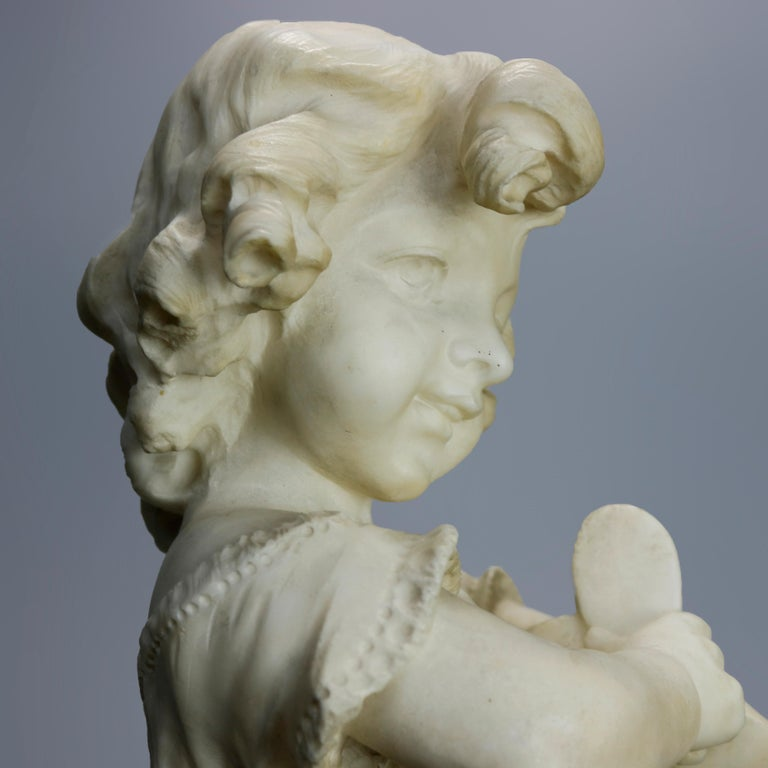 Antique Carved Alabaster Sculpture of Young Girl by Adolpho Cipriani, c1890 In Good Condition For Sale In Big Flats, NY