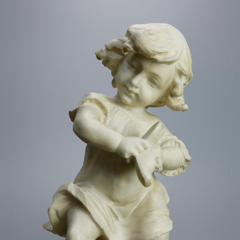 19th Century Antique Carved Alabaster Sculpture of Young Girl by Adolpho Cipriani, c1890 For Sale