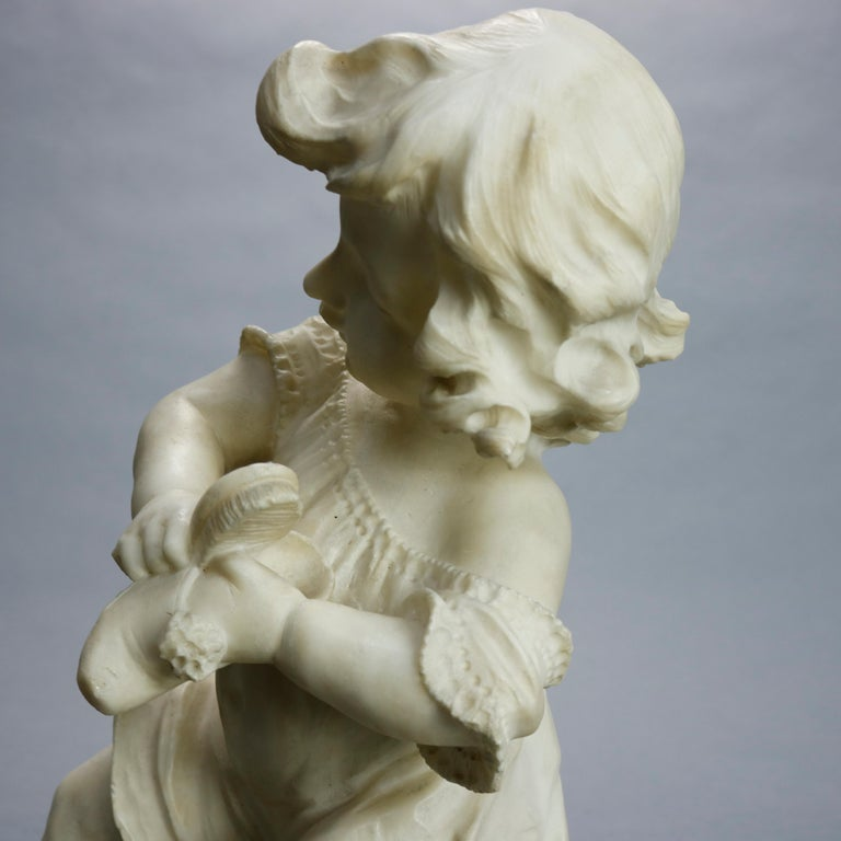 Antique Carved Alabaster Sculpture of Young Girl by Adolpho Cipriani, c1890 For Sale 1