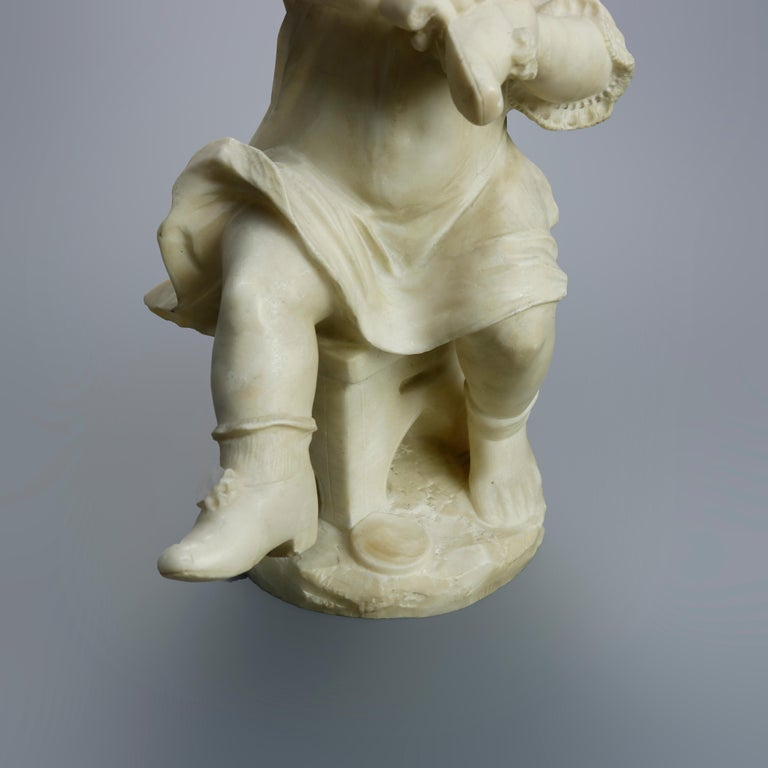 Antique Carved Alabaster Sculpture of Young Girl by Adolpho Cipriani, c1890 For Sale 4