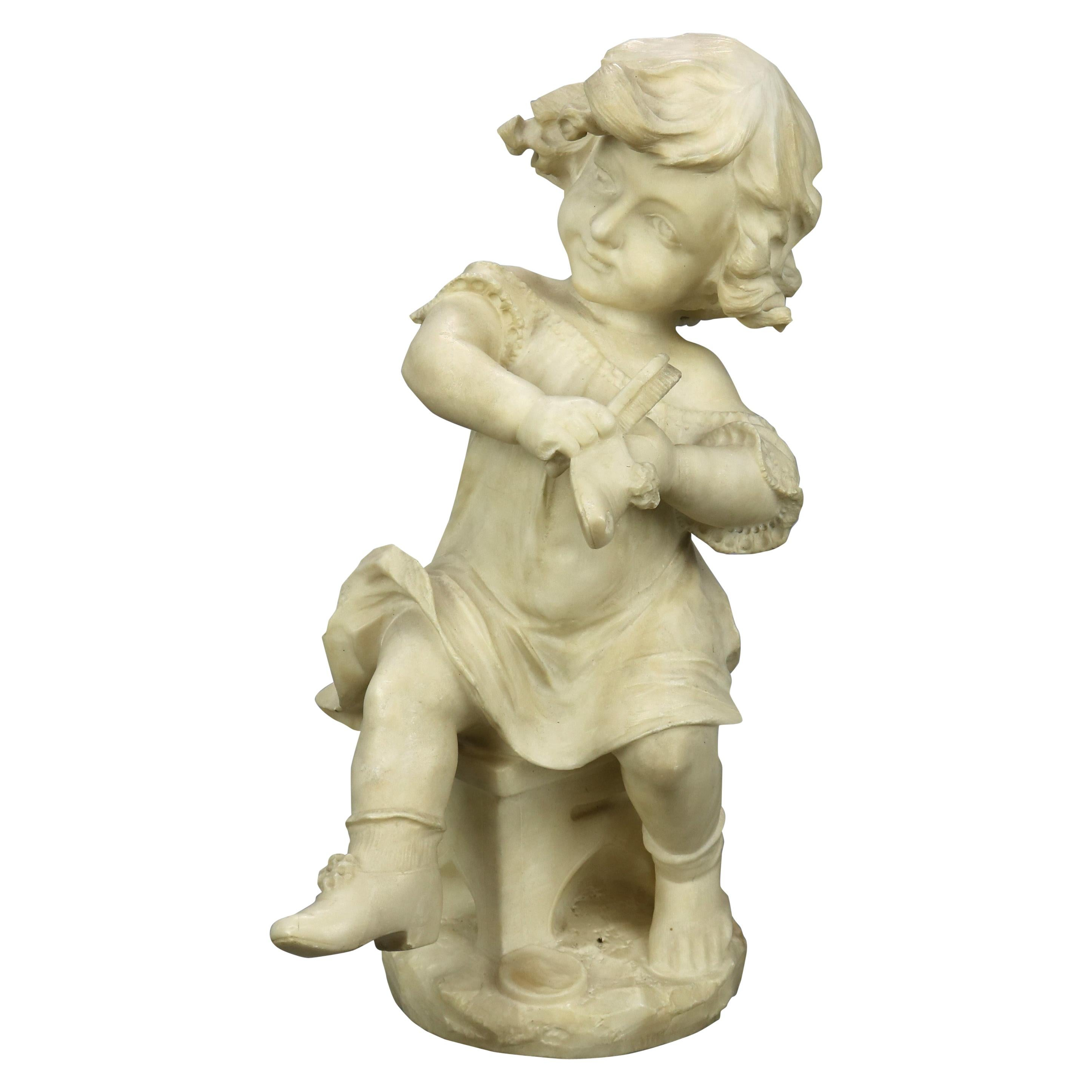 Antique Carved Alabaster Sculpture of Young Girl by Adolpho Cipriani, c1890