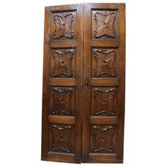 Antique Carved Baroque Double Door, Poplar Wood, 18th Century, Italy