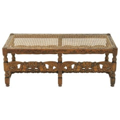 Antique Carved Bench, Footstool, Window Seat, Heavily Carved, W&J Sloane, B1609