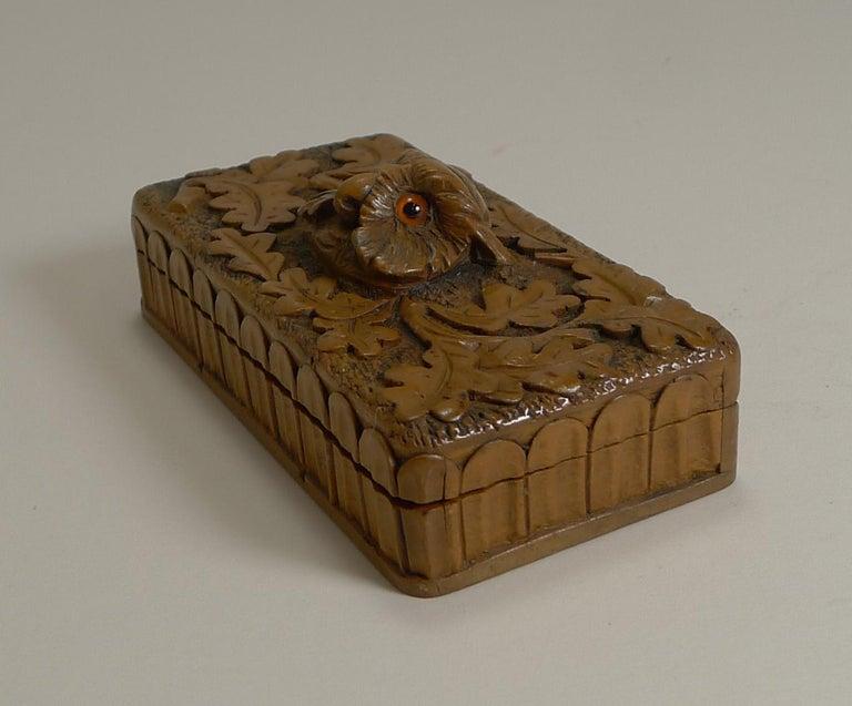 Hand-Carved Antique Carved Black Forest Triple Postage Stamp Box, Owl, Glass Eyes For Sale