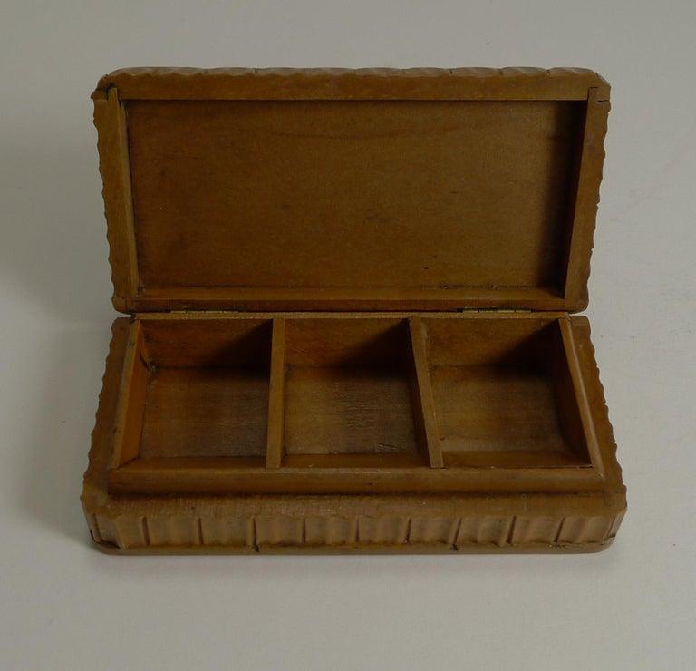 Wood Antique Carved Black Forest Triple Postage Stamp Box, Owl, Glass Eyes For Sale