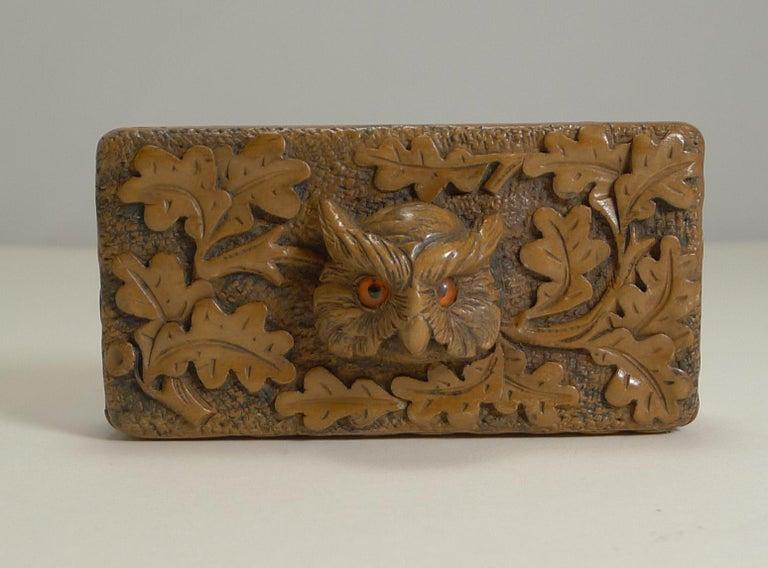 Antique Carved Black Forest Triple Postage Stamp Box, Owl, Glass Eyes For Sale 1