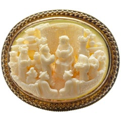 Antique Carved Bone Yellow Gold Brooch-Pendant