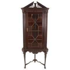 Antique Carved Cabinet, Mahogany Corner Cabinet on Stand, Scotland 1890, B2096