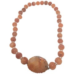 Antique Carved Carnelian Beaded Necklace