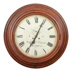 Antique Carved Circular Wall Clock by Wilbur V. Wigans Jewelers