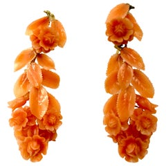 Antique Carved Coral and 14 Karat Yellow Gold Rose Motif Earrings, 19th Century