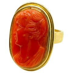 Antique Carved Coral Cameo Yellow Gold Ring