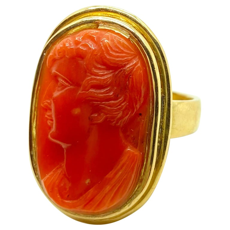 Antique Carved Coral Cameo Yellow Gold Ring For Sale