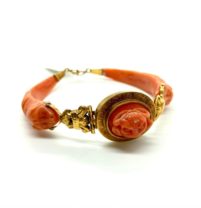 Mixed Cut Antique Carved Coral Yellow Gold Bracelet For Sale