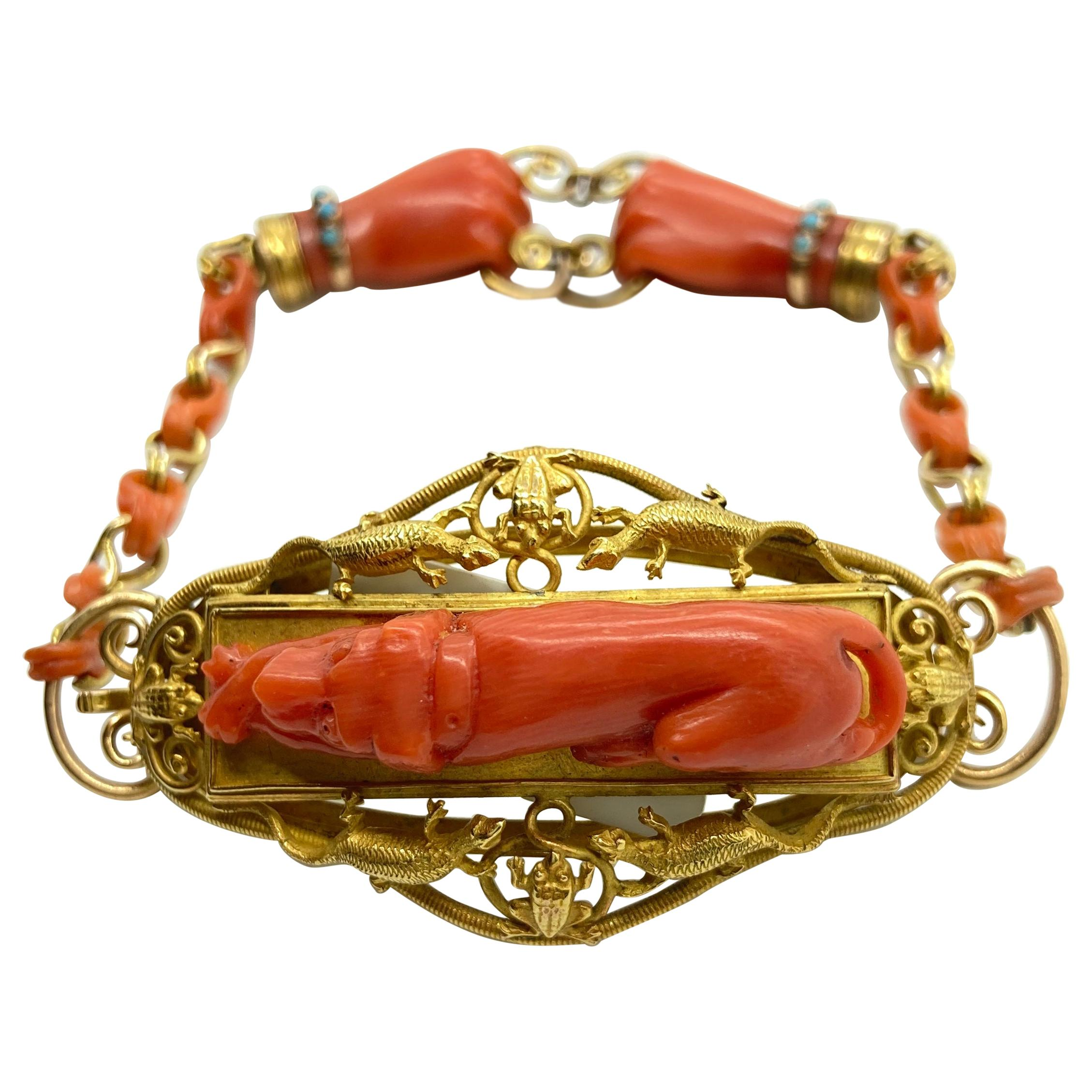Antique Carved Coral Yellow Gold Hunting Bracelet