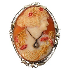 Antique Carved Cornelian Shell Cameo Brooch with Diamond Accent