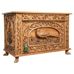 Antique Carved Country Pine Cabinet with Pheasant Motif