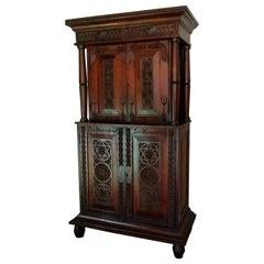 Antique Carved Danish Step Back Cupboard