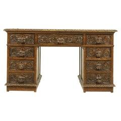 "Antique Carved Desk, Double Pedestal Desk, ""Green Man"" Motif, Oak, Scotland 1880"