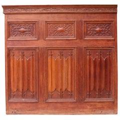 Antique Carved English Oak Linenfold Panelling