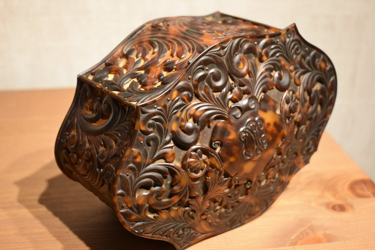 Edwardian Antique Carved Faux Tortoiseshell Jewelry Box For Sale