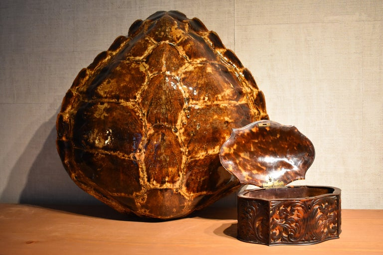 Antique Carved Faux Tortoiseshell Jewelry Box For Sale 1