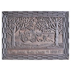 Antique Carved Folk Art Wooden Wall Hanging Commemorating The Royal Mail