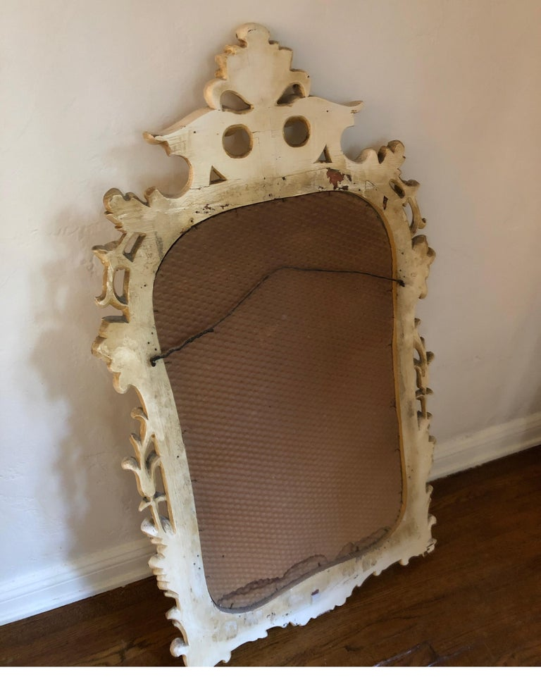 Antique Carved French Rococo Enameld and Gilt Ivory Mirror For Sale 6