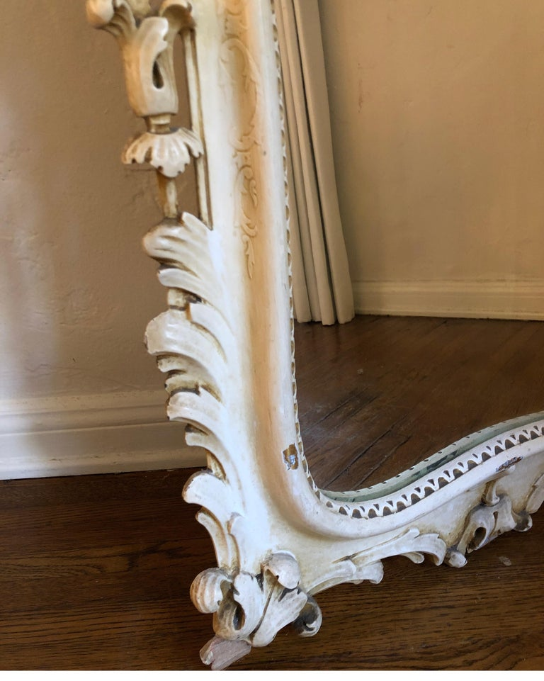 19th Century Antique Carved French Rococo Enameld and Gilt Ivory Mirror For Sale