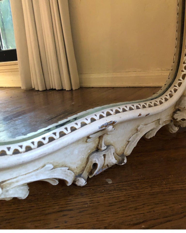 Antique Carved French Rococo Enameld and Gilt Ivory Mirror For Sale 1