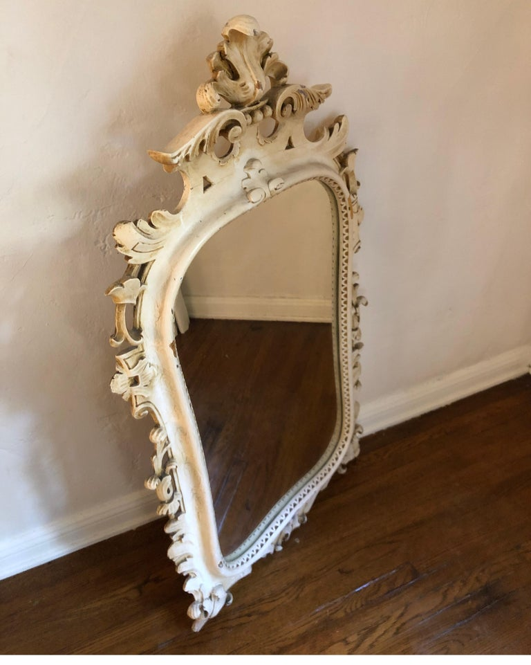 Antique Carved French Rococo Enameld and Gilt Ivory Mirror For Sale 5