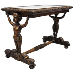Antique Carved Full Cherub Putti Figural Italian Renaissance Side Table