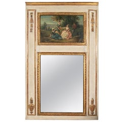 Antique Carved, Gilt and Painted Trumeau Mirror