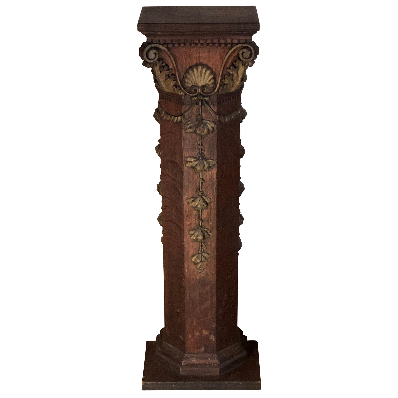 Antique Carved Gilt Columned Oak Pedestal or Plant Stand