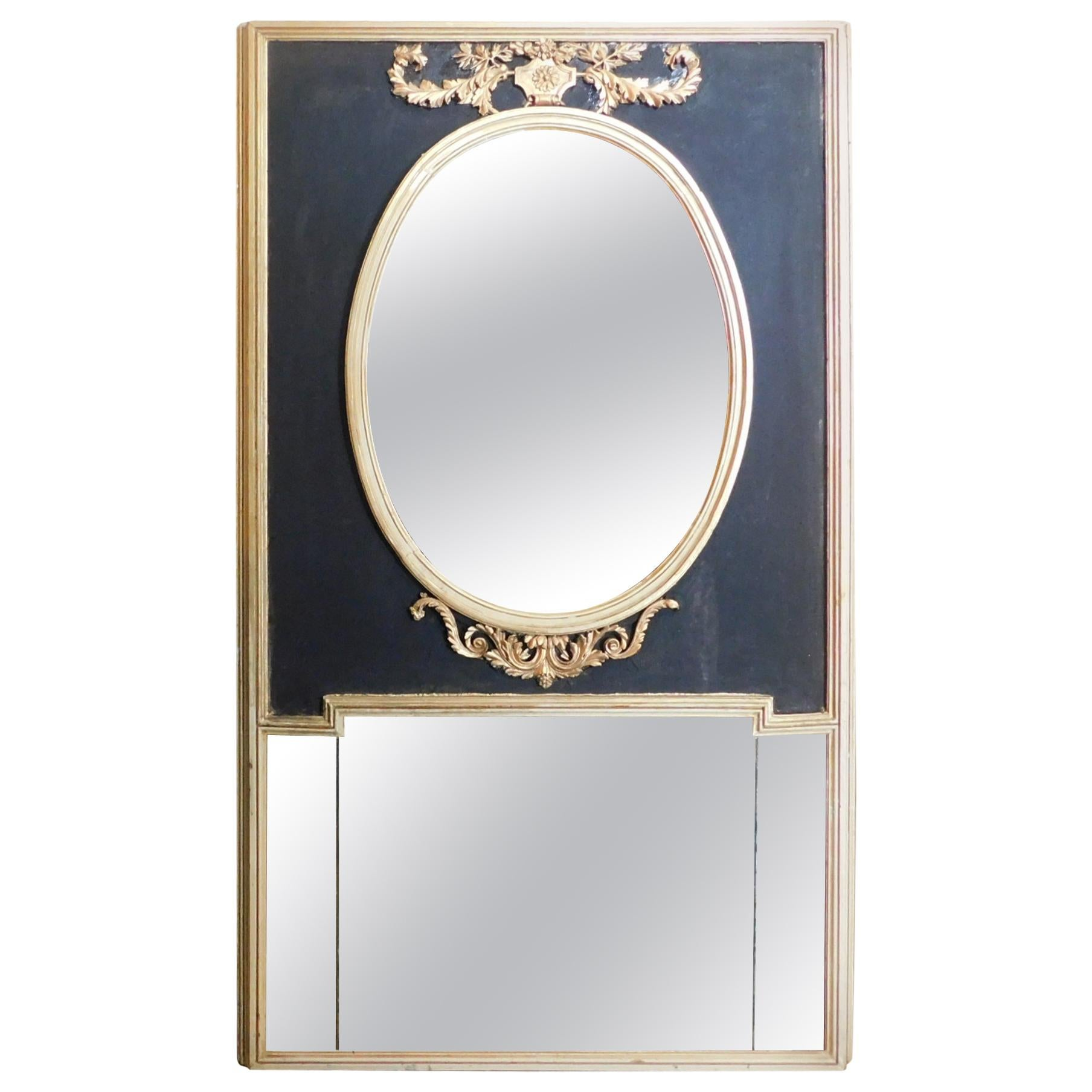 Antique Carved Giltwood Mirror Black Laquered, 1700, Italy