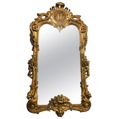 Antique Carved Golden Wood Mirror, 1800, Italy