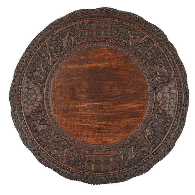 Antique Carved Hardwood Circular Side Table With Rosewood