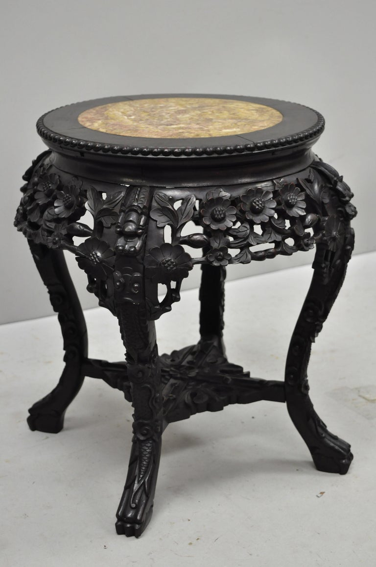 Antique Carved Hardwood Rosewood Marble Top Chinese Pedestal Table Plant Stand A 7