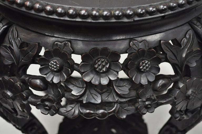 Antique Carved Hardwood Rosewood Marble Top Chinese Pedestal Table Plant Stand A In Good Condition In Philadelphia, PA