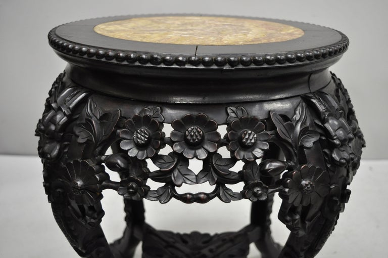 Antique Carved Hardwood Rosewood Marble Top Chinese Pedestal Table Plant Stand A 2