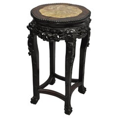 Antique Carved Hardwood Rosewood Marble-Top Chinese Pedestal Table Plant Stand C