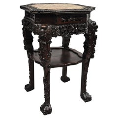 Antique Carved Hardwood Rosewood Marble-Top Chinese Pedestal Table Plant Stand G