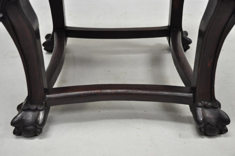 Antique Carved Hardwood Rosewood Marble-Top Chinese Pedestal Table Plant Stand H For Sale 6