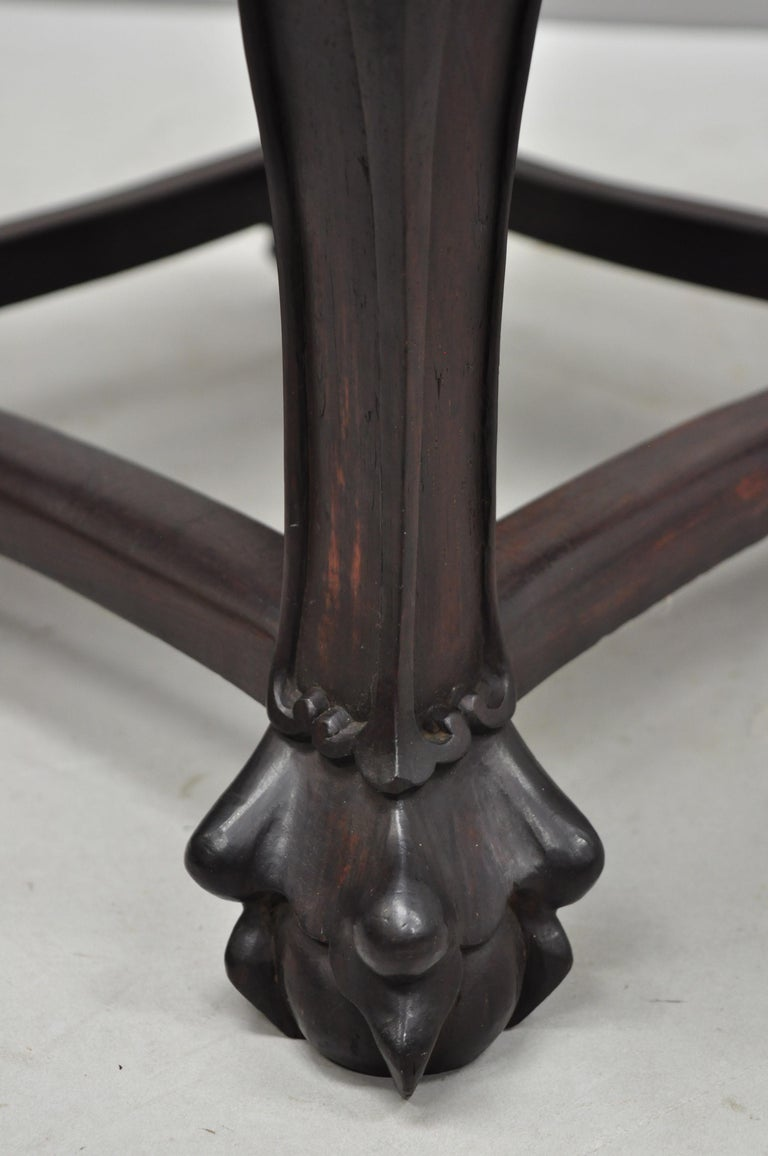 Antique Carved Hardwood Rosewood Marble-Top Chinese Pedestal Table Plant Stand H For Sale 7