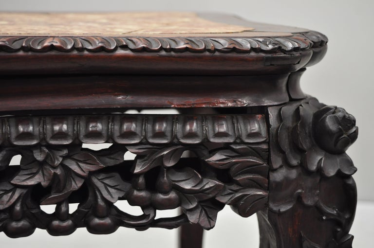 Antique Carved Hardwood Rosewood Marble-Top Chinese Pedestal Table Plant Stand H For Sale 3