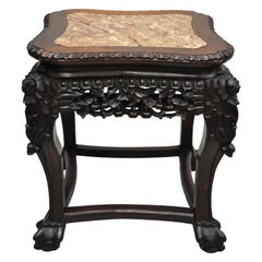 Antique Carved Hardwood Rosewood Marble-Top Chinese Pedestal Table Plant Stand H