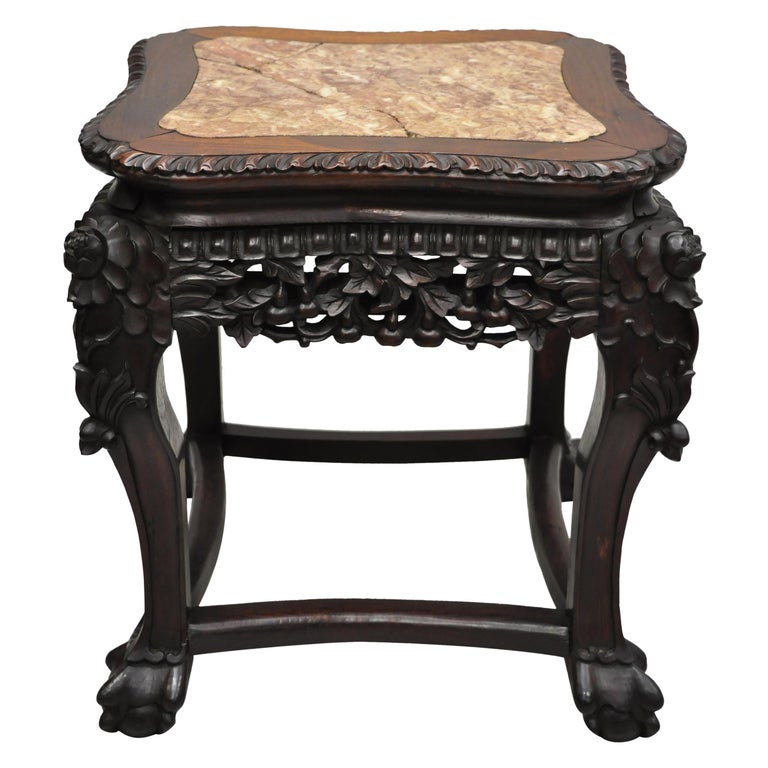 Antique Carved Hardwood Rosewood Marble-Top Chinese Pedestal Table Plant Stand H For Sale