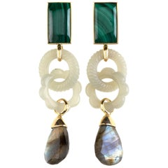 Antique Carved Imperial Jade Malachite Labradorite 18 Karat Gold Ring